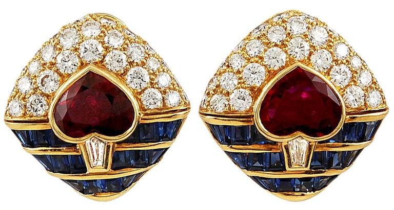 Round Cut Bulgari Heart Shaped Ruby, Diamond, Sapphire Necklace For Sale