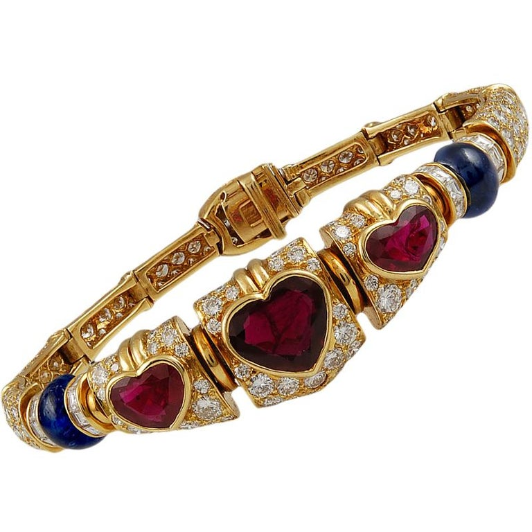 Bulgari Heart Shaped Ruby, Diamond, Sapphire Necklace In Good Condition For Sale In New York, NY
