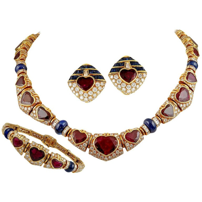 Bulgari Heart Shaped Ruby, Diamond, Sapphire Necklace For Sale