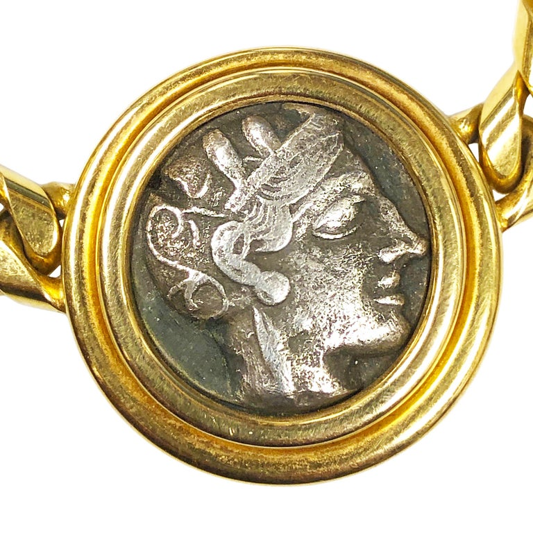 Bulgari Heavy Gold and Ancient Greek Coin Necklace