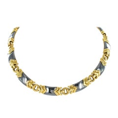 Bulgari Hematite and 18 Karat Yellow Gold Necklace