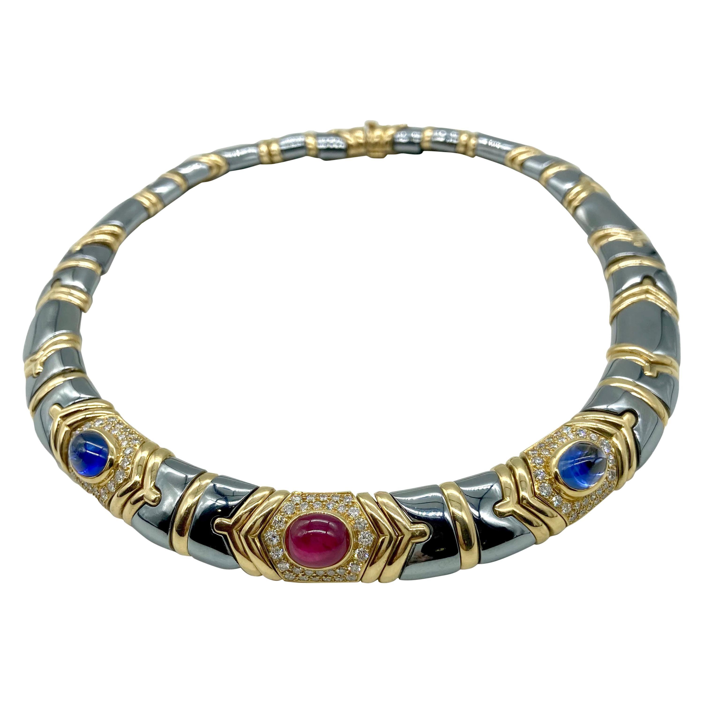 Bulgari Hematite, Diamond, Ruby, and Sapphire Necklace