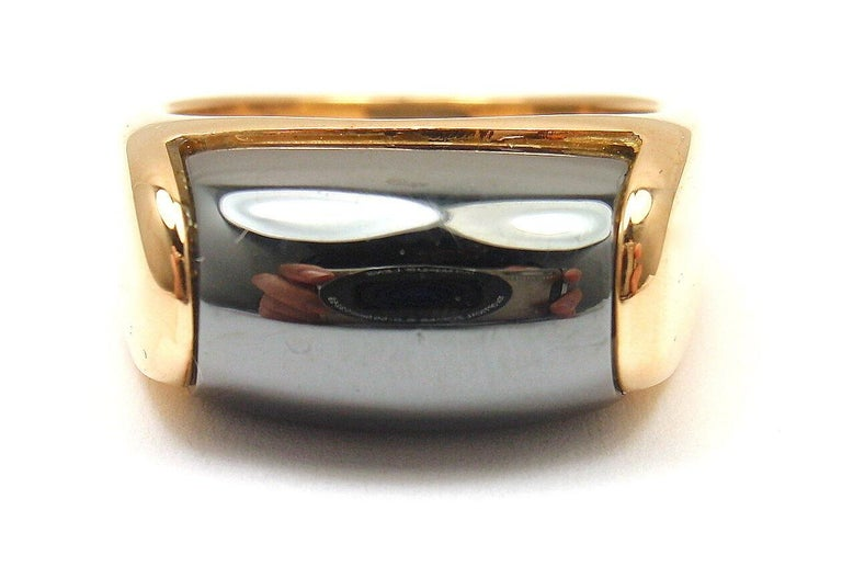 18k Yellow Gold Hematite Tronchetto Ring by Bulgari. With 1x Hematite 9mm x 12.5mm in size Ring Size: 5  1/4, Resize Available Weight: 9.2 grams Hallmarks: Bulgari 750 Made in Italy *Free Shipping within the United States* YOUR PRICE: $2,500 0263red