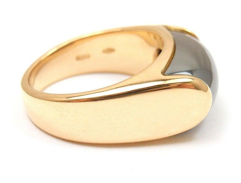 Women's Bulgari Hematite Tronchetto Yellow Gold Ring For Sale