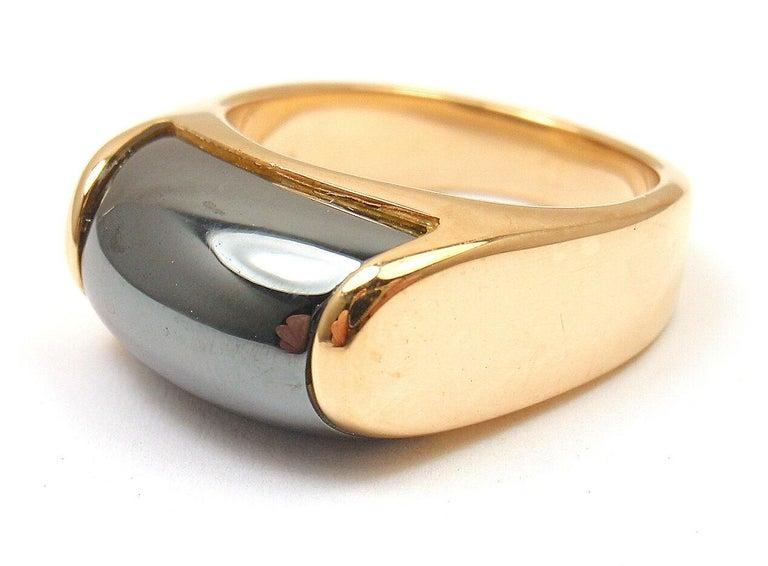 Bulgari Hematite Tronchetto Yellow Gold Ring For Sale 2