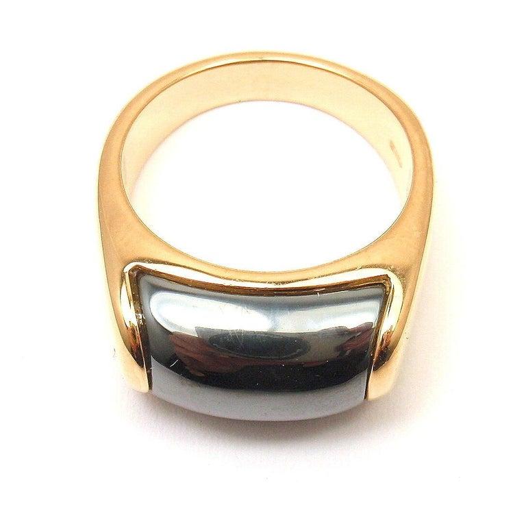 Bulgari Hematite Tronchetto Yellow Gold Ring For Sale 3