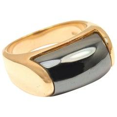 Bulgari Hematite Tronchetto Yellow Gold Ring