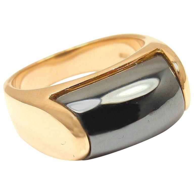 Bulgari Hematite Tronchetto Yellow Gold Ring For Sale