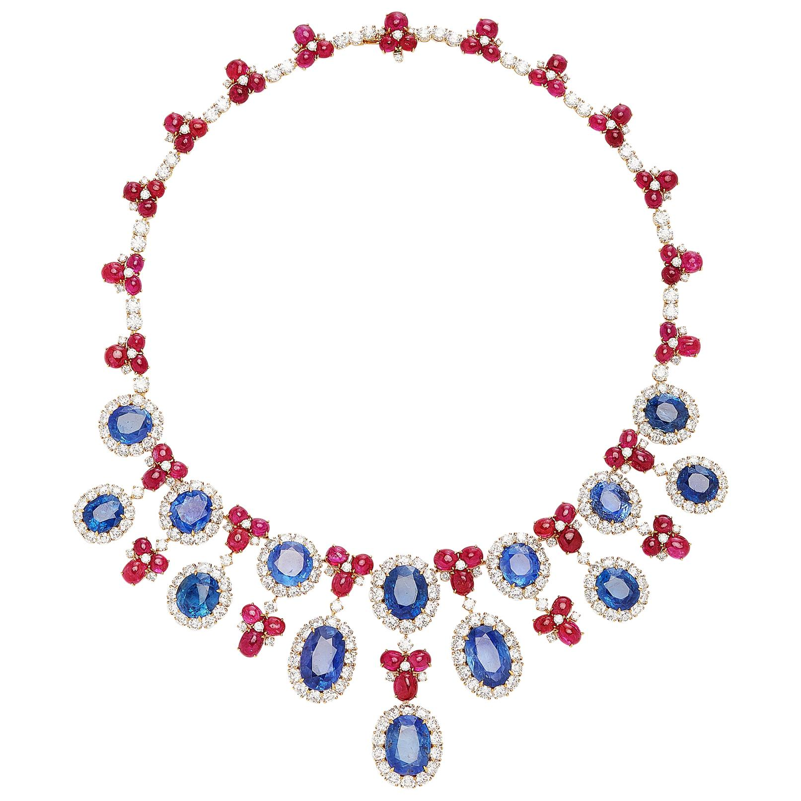 Bulgari Important Sapphire Diamond Ruby Necklace