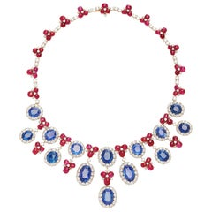 Bulgari Important Sapphire Diamond Ruby Necklace