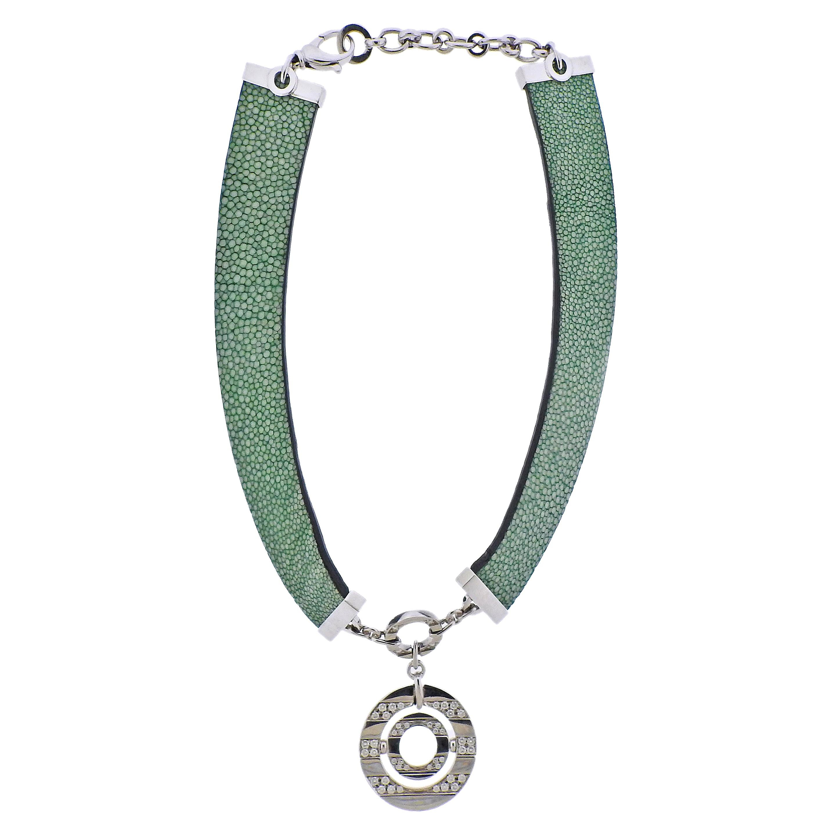 Bulgari Impressive Gold Diamond Green Ostrich Leather Collar Necklace