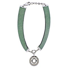 Bulgari Impressive Gold Diamond Green Ostrich Leather Collar Necklace