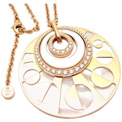 Bulgari Intarsio Diamond Mother of Pearl Rose Gold Pendant Necklace