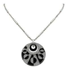 Bulgari Intarsio Onyx Disc Pendant 18k White Gold Necklace w. Diamonds