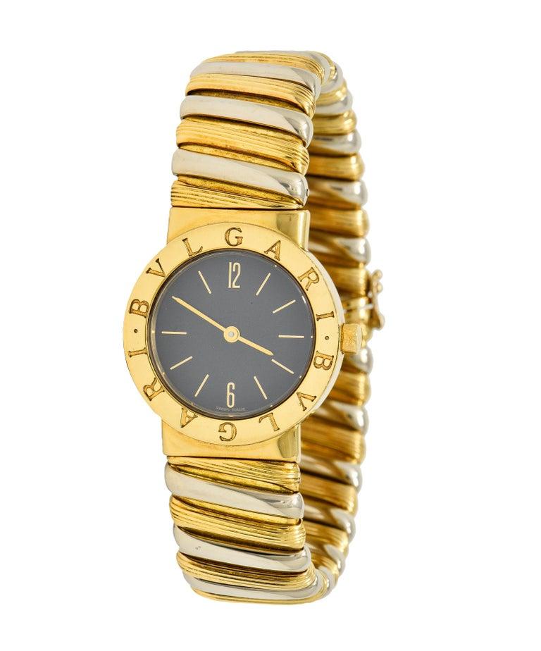 Bulgari Italian 18 Karat Two-Tone Gold Cuff Watch Bracelet For Sale 5