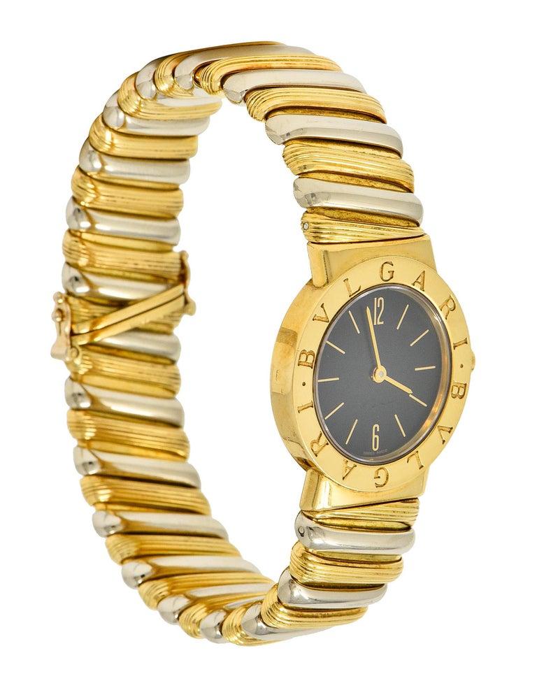 Bulgari Italian 18 Karat Two-Tone Gold Cuff Watch Bracelet For Sale 6