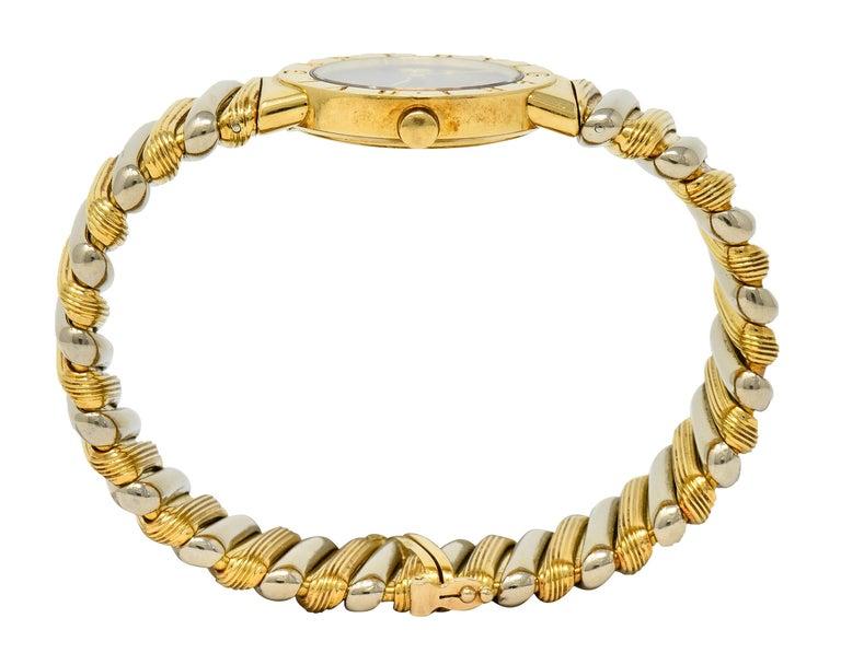 Bulgari Italian 18 Karat Two-Tone Gold Cuff Watch Bracelet For Sale 7