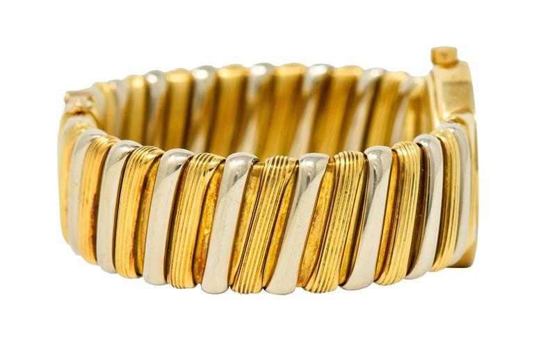 Contemporary Bulgari Italian 18 Karat Two-Tone Gold Cuff Watch Bracelet For Sale
