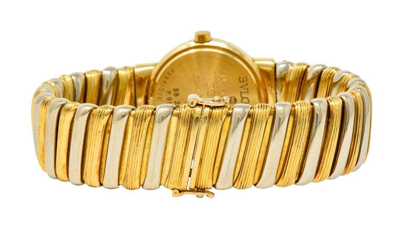 Bulgari Italian 18 Karat Two-Tone Gold Cuff Watch Bracelet In Excellent Condition For Sale In Philadelphia, PA