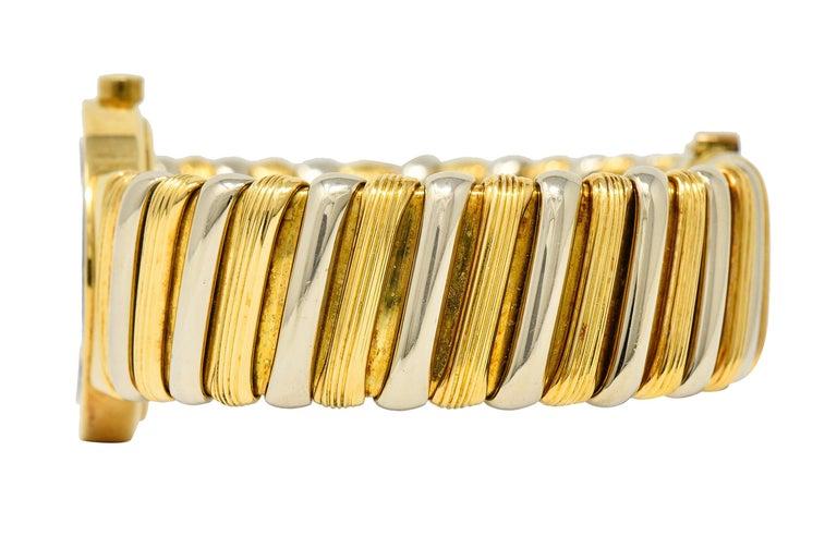 Women's or Men's Bulgari Italian 18 Karat Two-Tone Gold Cuff Watch Bracelet For Sale