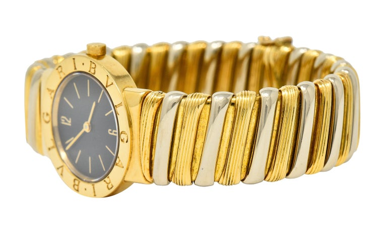 Bulgari Italian 18 Karat Two-Tone Gold Cuff Watch Bracelet For Sale 1