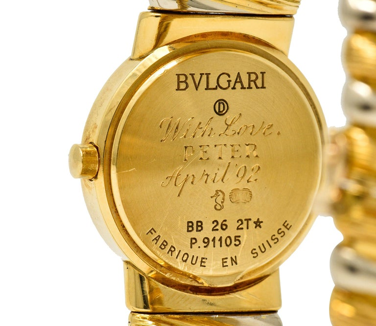 Bulgari Italian 18 Karat Two-Tone Gold Cuff Watch Bracelet For Sale 2