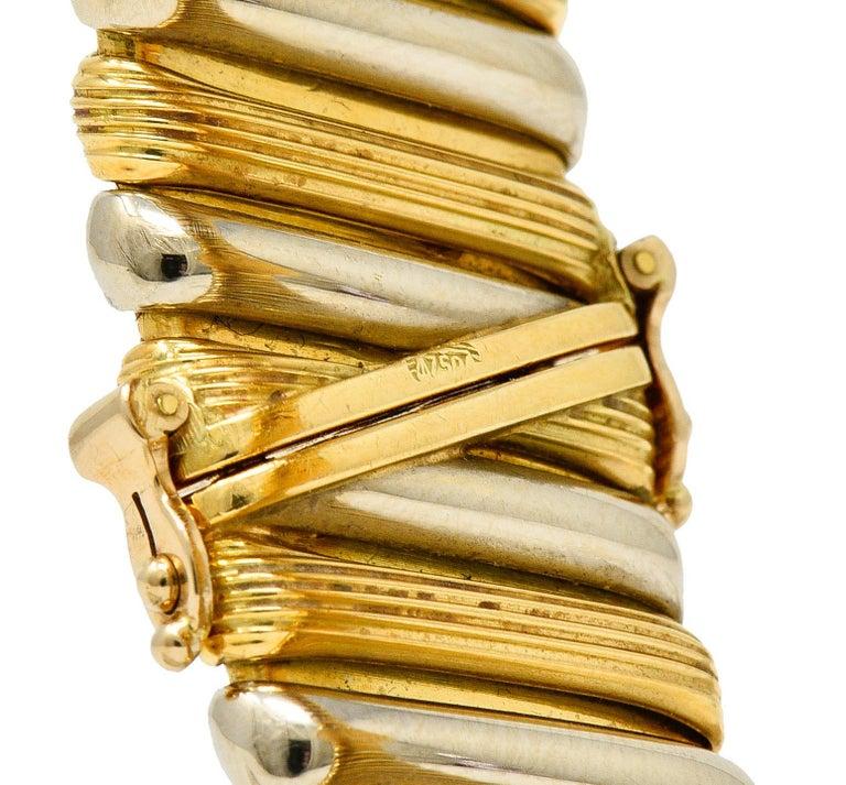 Bulgari Italian 18 Karat Two-Tone Gold Cuff Watch Bracelet For Sale 3
