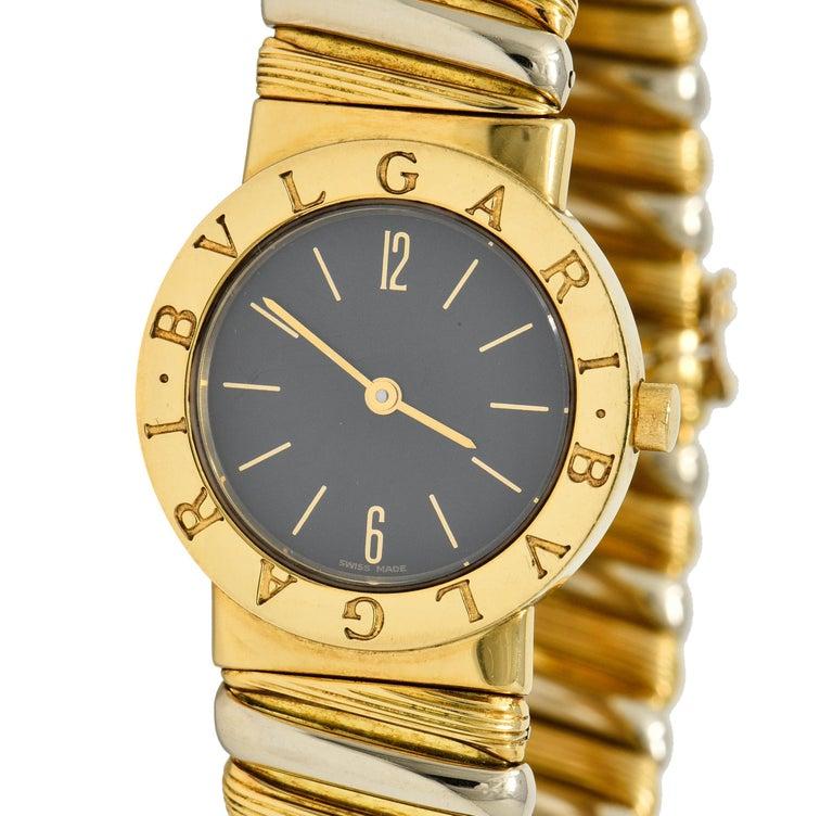 Bulgari Italian 18 Karat Two-Tone Gold Cuff Watch Bracelet For Sale 4