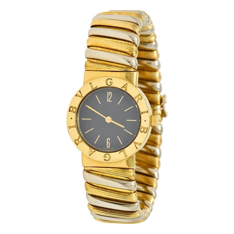 Bulgari Italian 18 Karat Two-Tone Gold Cuff Watch Bracelet For Sale