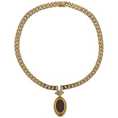 Bulgari Jasper Intaglio Emerald Diamond Gold Pendant Necklace