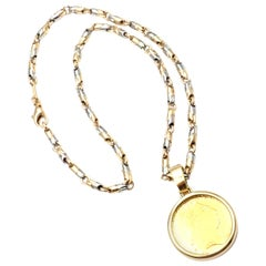 Bulgari King George III Gold Coin Pendant Gold and Steel Link Chain Necklace
