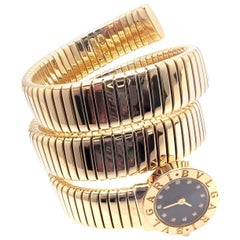 Bulgari Ladies Diamond Yellow Gold Tubogas Serpent Snake Bracelet Wristwatch