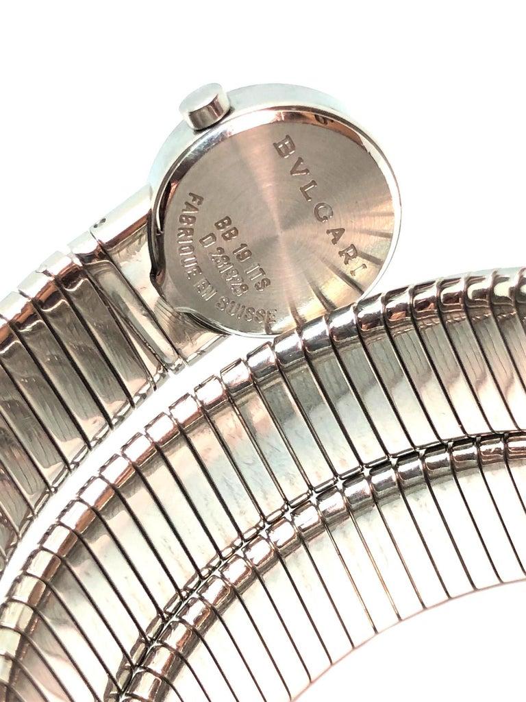 Bulgari Ladies Steel Serpenti Snake Bracelet Quartz Wristwatch In Excellent Condition For Sale In Chicago, IL
