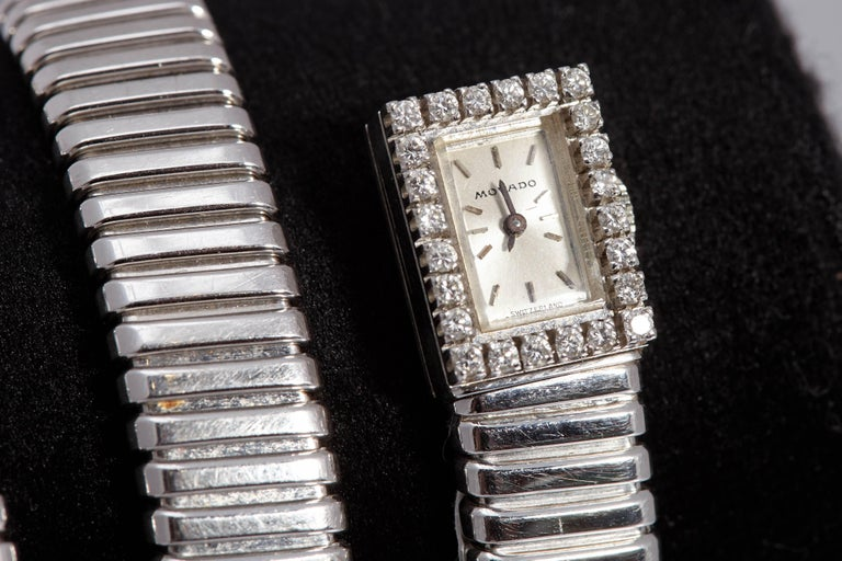 Bulgari Ladies White Gold Diamond Tubogas Wristwatch In Excellent Condition For Sale In New York, NY