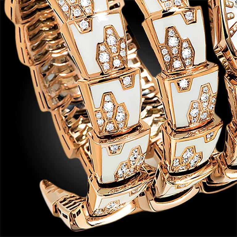 Bulgari Ladies Yellow Gold Diamond Mother of Pearl Serpenti Quartz Wristwatch In Good Condition For Sale In New York, NY