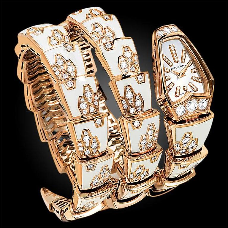 Women's Bulgari Ladies Yellow Gold Diamond Mother of Pearl Serpenti Quartz Wristwatch For Sale