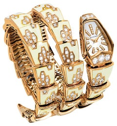 Bulgari Ladies Diamond Mother of Pearl Yellow Gold Serpenti Quartz Wristwatch