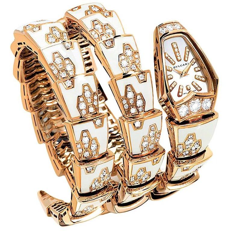 Bulgari Ladies Yellow Gold Diamond Mother of Pearl Serpenti Quartz Wristwatch For Sale