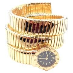 Bulgari Ladies Yellow Gold Tubogas Serpent Snake Bracelet Wristwatch