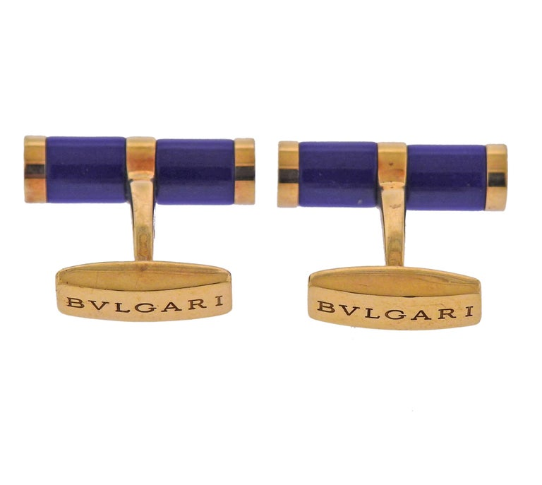 Round Cut Bulgari Lapis Lazuli Gold Cufflinks For Sale