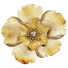 Bulgari Large Agate Diamond Flower Brooch