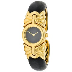 Bulgari Leather 18 Karat Yellow Gold Antalya Cuff Watch Bracelet