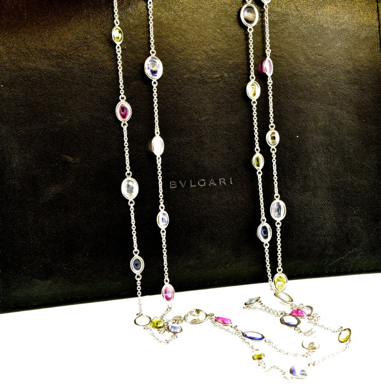 Contemporary Bulgari Long Chain with Fine Sapphires For Sale