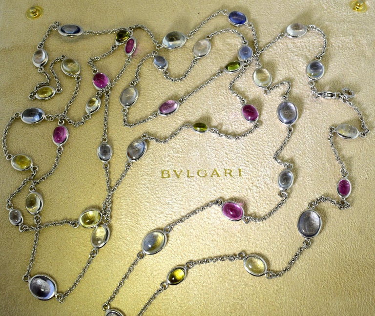 Bulgari Long Chain with Fine Sapphires In Excellent Condition For Sale In Aspen, CO