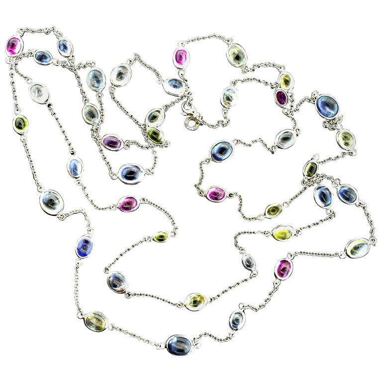 Bulgari Long Chain with Fine Sapphires For Sale