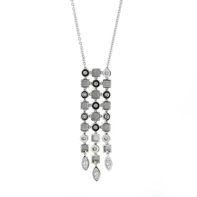 Round Cut Bulgari Lucea Diamond Gold Drop Necklace For Sale