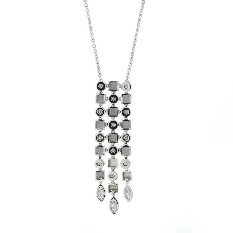 Round Cut Bulgari Lucea Diamond White Gold Drop Necklace For Sale
