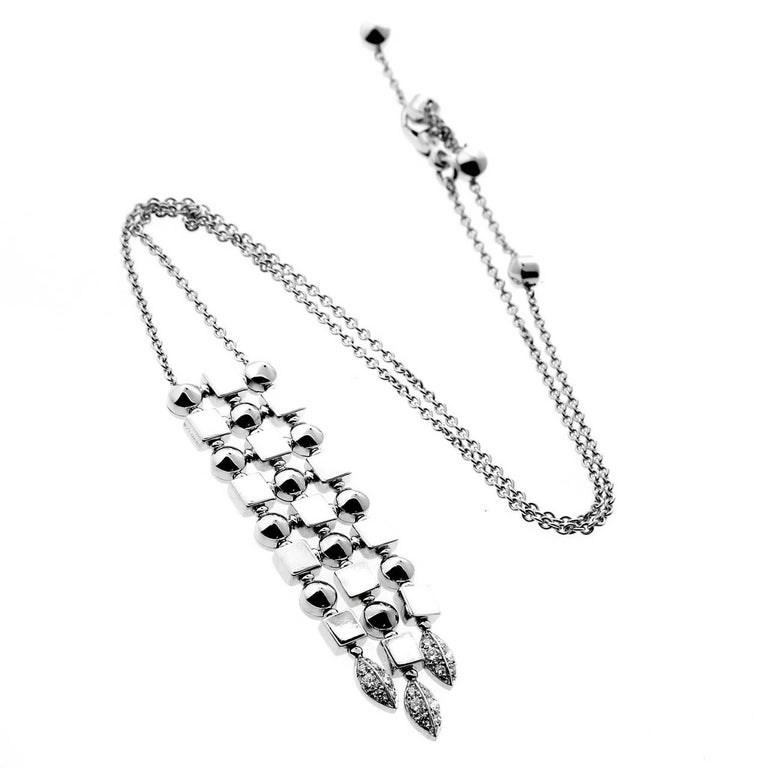 Bulgari Lucea Diamond White Gold Drop Necklace In Excellent Condition For Sale In Feasterville, PA