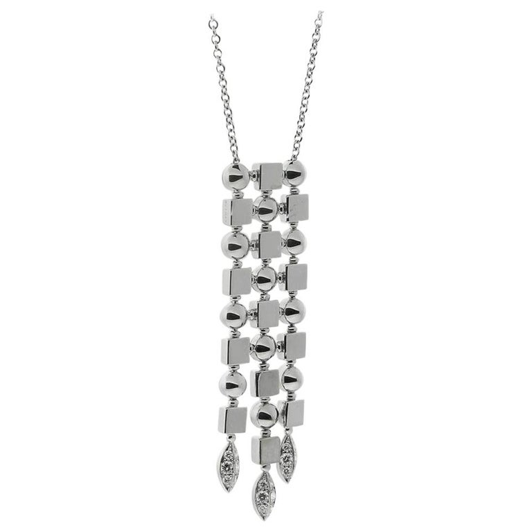 Bulgari Lucea Diamond White Gold Drop Necklace For Sale