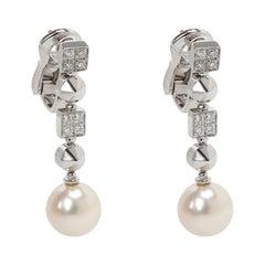 Bulgari Lucea Pearl and Diamond Drop Earring in 18 Karat White Gold 0.5 Carat